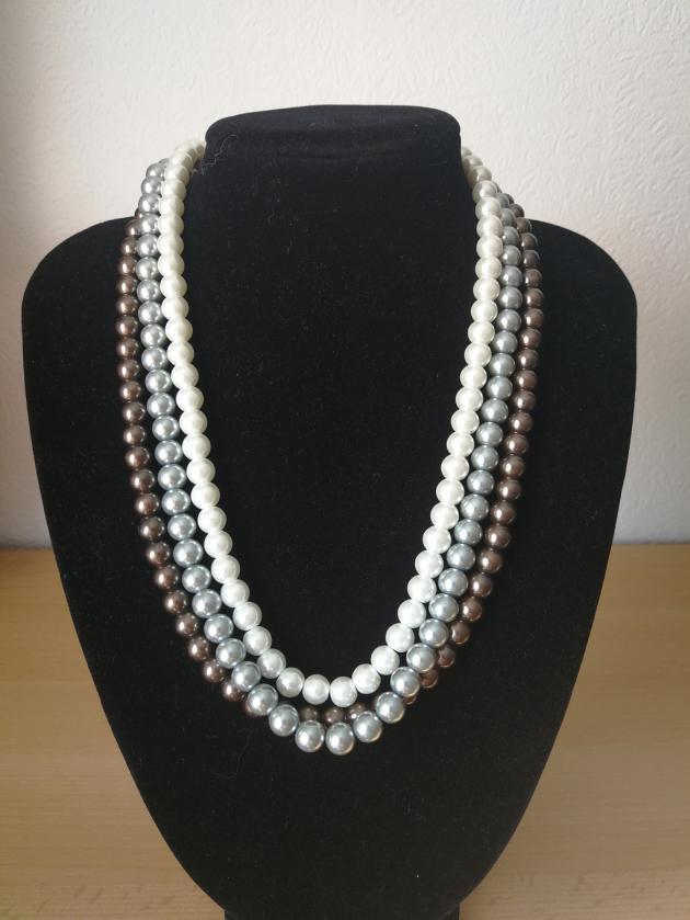 3-reihige Renaissance-Perlen Kette