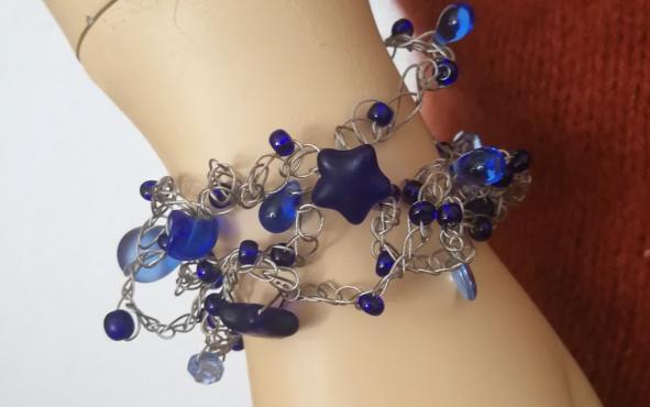 gehäkeltes Armband Glasperlen